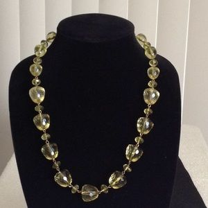 Lime Green Faceted Acrylic Gold Tone Chain Necklac